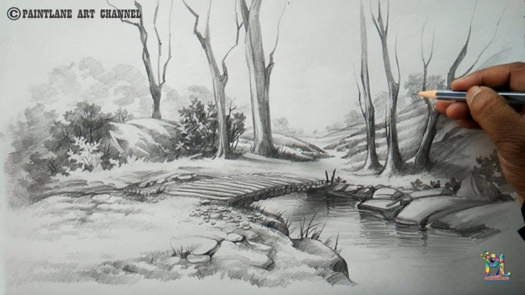 How To Draw A Easy And Simple Scenery With Pencil, Step By ...